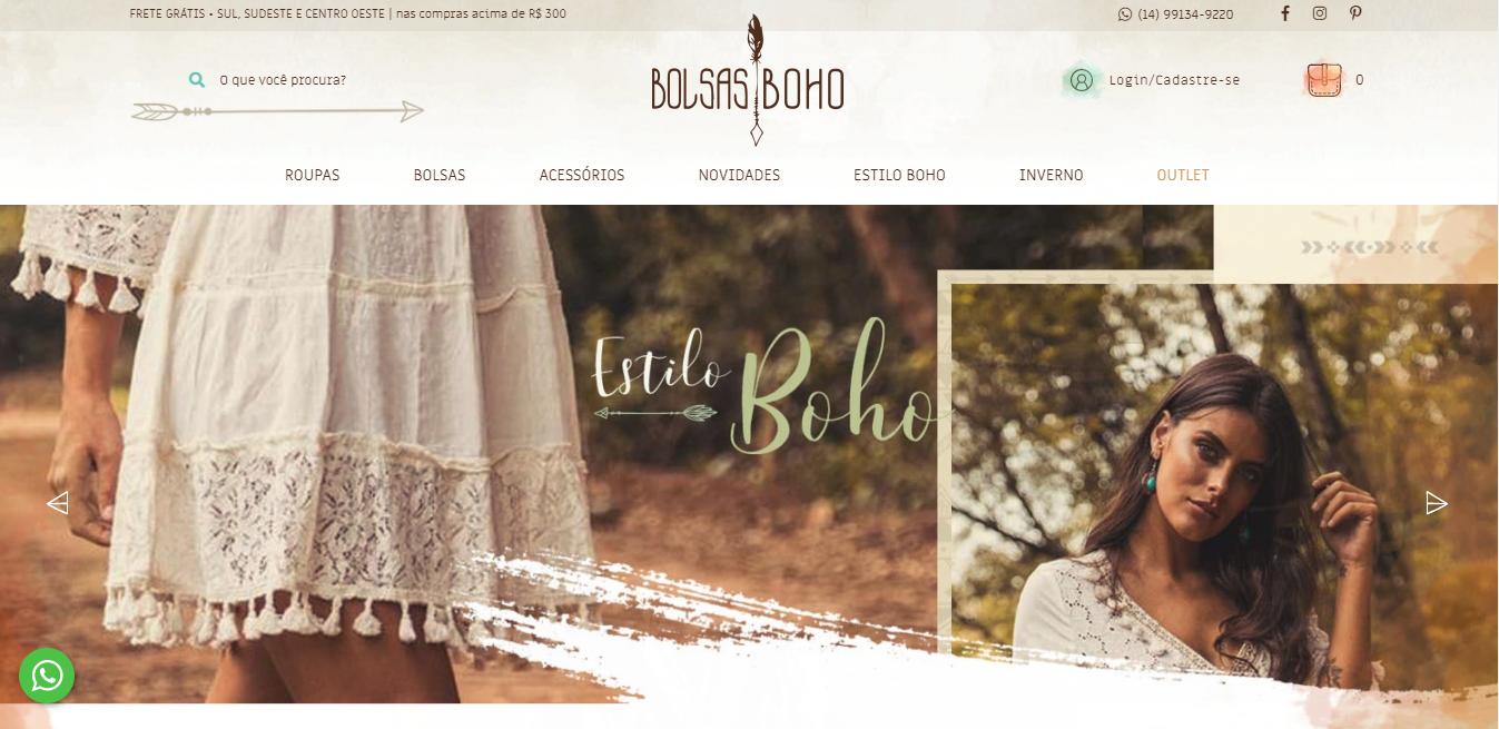Figura 1- A loja online Bolsas Boho que teve o layout e a implementação feito pela Admake aposta no segmento boho chic.