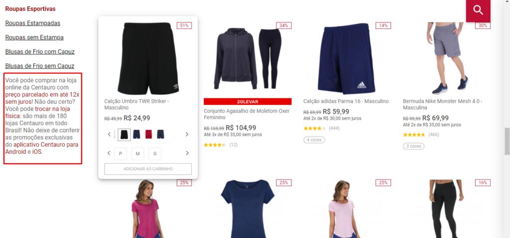 print da tela do site da Centauro que mostra a página de produtos da loja.