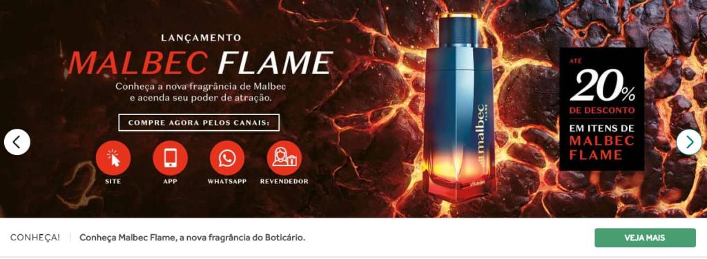 print da tela do site do Boticário, que mostra o lançamento do perfume Malbec Flame